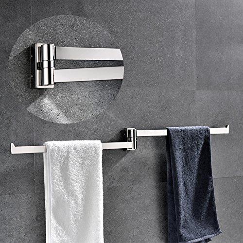 2-Arm Handtuchhalter Handtuchstange Handtuch Bar 42.5x6.5x3cm Bad Wandmontage Edelstahl Spiegelglanz (3 X Bad)
