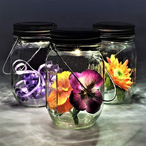 Gadgy ® Solarglas Einmachglas | Set 3 Stück mit 5 LED's | Warmweiß Licht | Solar Lampe für Außen | Garten Laterne -