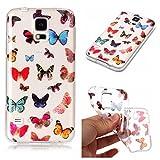 Galaxy S5 Hülle, Anlike Samsung Galaxy S5 (5,1 Zoll) Handy Hülle [Bunte Muster Design] Schutzhülle - Schmetterling