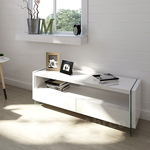 Modern Tv Unit Cabinet Tv Stand - White High Gloss - Glass Feature - 2 Drawer (White)