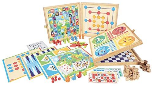 JeuJura-8124–Coffret-de-Klassiker-Spiel-150-Regeln–Spielsteine-Holz