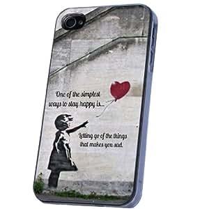 Banksy Graffiti Art Ballon Girl UK art Stil Design iphone 4 4S Hülle Case Back Cover Metall und Kunststoff-Löschen Frame