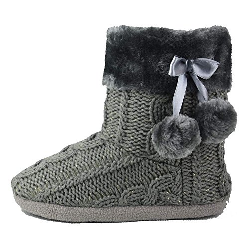 Hausschuhe Damen Pantoffeln Stiefel Schuhe mit weichen Pom Poms Slippers Airee Fairee, Gr. EU 40-41 (L), Grau (Pom Bootie)