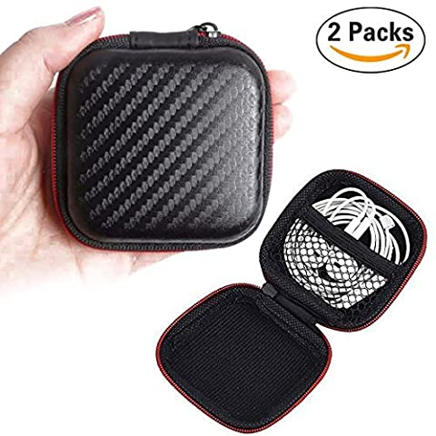 sunerly 2Stück tragbare Reißverschluss Kopfhörer PU Fall, der Kopfhörer Fall für MP3-Kopfhörer und USB-Kabel, Mini Quadratisch Aufbewahrungstasche für MP3/MP4Bluetooth-Kopfhörer und Little Stuff