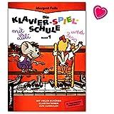 Die Klavier-Spiel-Schule Band 1 9783802402180 - Moderna scuola di pianoforte adatta ai bambini, con molte illustrazioni e clip colorata a forma di cuore