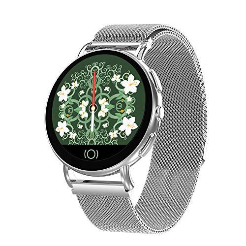 LBYMYB Sport Armband Herzfrequenz Fitness Tracker Schrittzähler Uhr Bluetooth Touchscreen Mit Kalorienzähler Schlaf Monitor Kamera Fernbedienung Für Android Und IOS Smartwatch (Color : Silver) (Herzfrequenz-monitor-jugend)