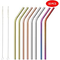 OS Oak & Steel ENGLAND Pack de 10 Pack - Pajitas Reutilizables de Acero Inoxidable de Colores - Incluye 2 cepillos de Limpieza Largos