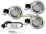 3er Set LED Einbauleuchte Möbelleuchte Einbaustrahler 3W HIGH LED SMD Warmweiß Schwenkbar