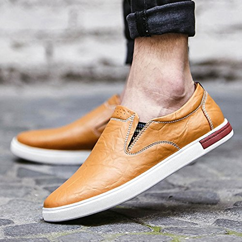 Minitoo Boys Mens Retro Slip-On Stitched Casual Loafers Brown