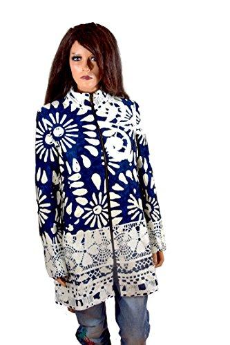 Desigual Damen Woman Mantel Coat Abrigo blau weiß *** IREA *** 65E20D0 (40)