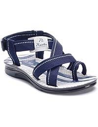 Men Floaters Pu Rocks Men's PU Grey Blue Sandals/Floaters