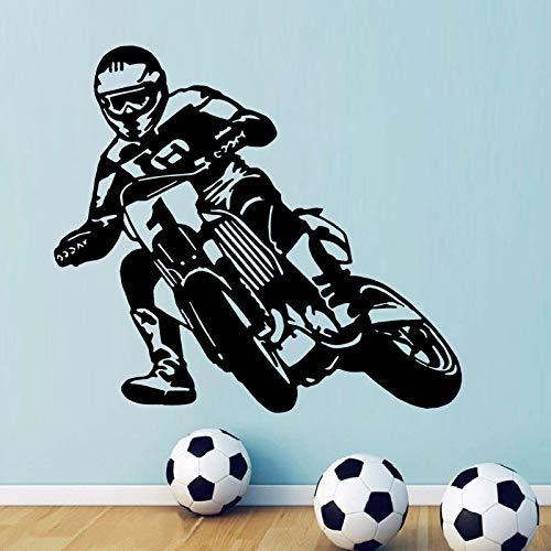 HNXDP Motocicletta Moto da corsa Decorazioni da parete Motocross Moto Sport Ragazzi Vinile Adesivo per camera da letto per adolescenti Adesivo Caffè 46x42cm
