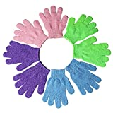 Kuou 4 Pairs Exfoliating Gloves, Bath Gloves, Shower Body Gloves, Double Sided Scrubbing Bath Gloves, 4 Colors