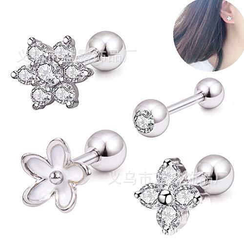 KFYU Edelstahl Punktion Schmuck Muster Zirkon Ohrringe kleine Ohr Knochen Nagel Ohrringe 4er Set (Kleine Nagel-juwelen)
