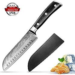 Damascus Couteau Santoku Couteau Japonais Damas Full Japanese AUS10V Couteau de Chef Cuisine en Acier Inoxydable à Haute Teneur en Carbone