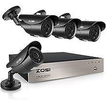ZOSI 8CH 720P HD DVR Enregistreur Vidéo - 4pcs Caméra Surveillance Extérieure 1500TVL - Vision Nocturne 40m IR - Code QR pour Accès à Distance en 3G/4G/WiFi - PC/Smartphone- sans HDD