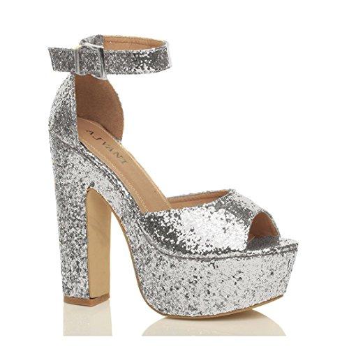 Sandálias Glitter Senhoras Plateau Amarrar Bloco Prata Tamanho partido Tornozelo Os Sapatos Alta Peep Toe q6Z647tnx