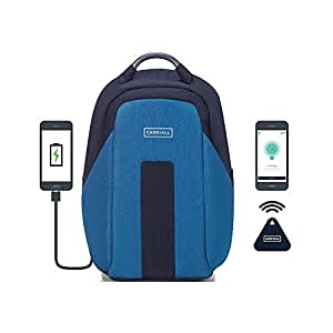 Carriall VASCO Unisex Polyester Blue and Black Anti-theft Water Resistant Laptop Backpack with Bluetooth and Mobile Apps