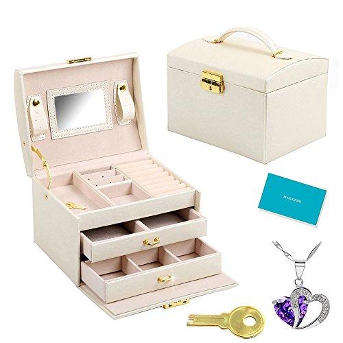 icocopro-joyas-caja-joyero-de-piel-28-seccin-organizador-con-cerraduraespejo-2-bandejas-Mini-estuche-de-viaje-cosmticos-soporte-para-pendientes-anillo-collar-pulsera-y-reloj