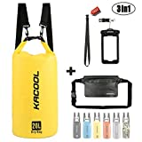 Premium impermeabile leggero 【 3 in 1 】 set, Kacool 20l roll top Dry bag con 2 staccabile tracolla, marsupio & Phone case-submersible per kayak, rafting, barca, pesca e trekking, Yellow