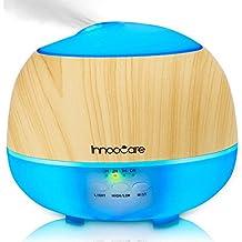 InnooCare 500ml Humidificador Ultrasónico Aromaterapia Difusor de Aceites Esenciales Difusor de Aroma 7 Colores LED 4 Temporizadores Vapor Frío Perfecto Casa, Dormitorio, Baño, Yoga, Sauna y Oficina,