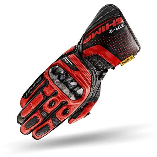 SHIMA STR-2, Motorrad Handschuhe Touchscreen Touchscreen Sommer Leder Sport Carbon Touchscreen Herren Motorradhandschuhe mit Protektoren, Schwarz/Rot, Größe XL - Sport 2.0 Perforiertes Leder