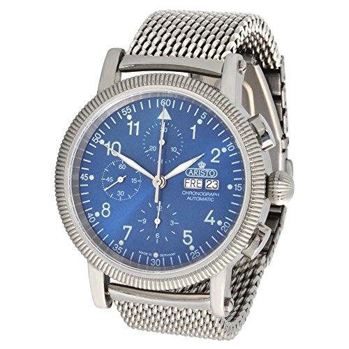 Aristo Hombre Cronógrafo Automático Reloj de pulsera 4h86bm ETA valj oux 7750Milanaise pulsera