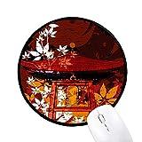 diythinker Japan japanische Style Blätter Pavillon rund rutschfeste Mousepads schwarz titched Kanten Spiel Büro Geschenk