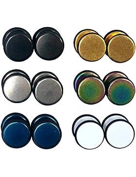 6 Paar Ohrstecker mit Gummirand, 8 mm, rund, Unisex, Edelstahl