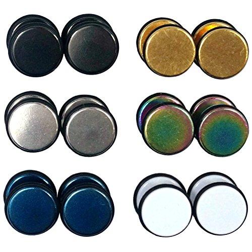 6 Paar Ohrstecker mit Gummirand, 8 mm, rund, Unisex, Edelstahl -
