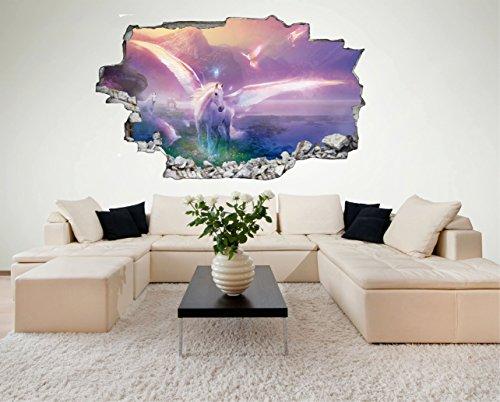 Einhorn Einhörner 3D Look Wandtattoo 70 x 115 cm Wanddurchbruch Wandbild Sticker Aufkleber DesFoli © C479