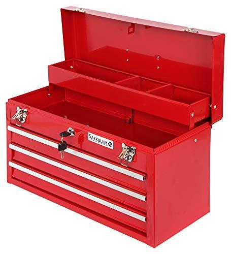Werkzeugkoffer Werkzeugkasten leer Werkzeugkiste Werkzeugbox 3 Schubladen + Antirutschmatten Kugelgelagert Fächer tragbar Stahl Metall abschließbar Werkzeug Koffer Kasten Aufbewahrung