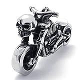 Daesar Acciaio Inossidabile Collana Uomo Ciondolo Collana Gotico Motociclista Pendenti Di Collana Teschio Motociclo 18-26 Pollice