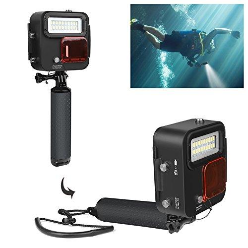D&F 1000LM Tauchen Taschenlampe Unterwasser 30M/98ft mit 1500mAh Akku Kangaroo Beleuchtung Nur für GoPro Hero 7 Schwarz/6/5/4/HERO(2018)