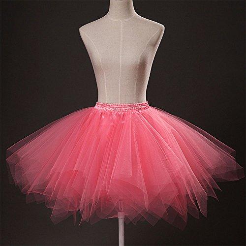Ballett Tutu Rock für Damen - 2 Größe Elastische Taille Perfekt Flauschigen mit Doppel Futter Wassermelone-Rot