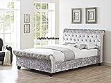 Neue Attraktive gecrushter Samt luxuriöse Chesterfield Bett, Doppelbett, King Size 5ft, Silber, Doppelbett