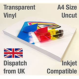 15 Sheets A4 Clear/Transparent Vinyl Glossy Self Adhesive Sticker Quality Inkjet Printable