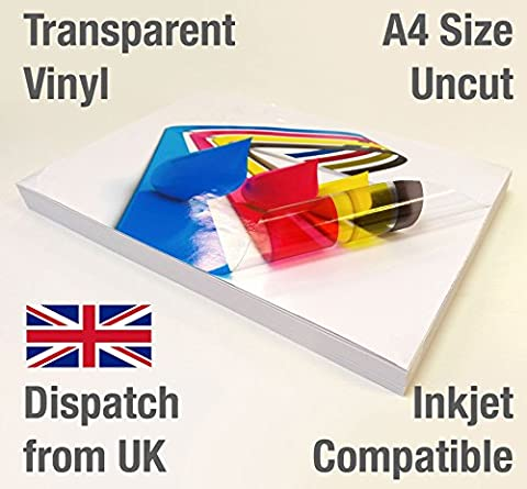 5 Sheets A4 Clear / Transparent VINYL Glossy Self Adhesive