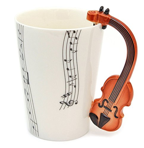 Vetrineinrete® tazza con manico a forma di strumenti musicali in confezione regalo fantastica idea regalo compleanno chitarra violino pianoforte clarinetto tromba (violino chiaro) e34