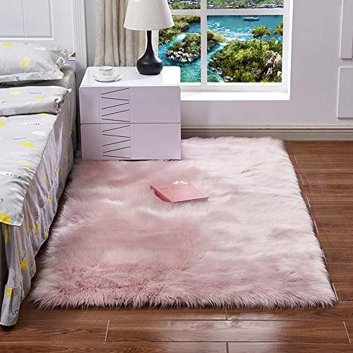 EXQULEG Spitzenqualität Lammfellimitat Teppich, Flauschig Weiche Nachahmung Wolle Teppich Longhair Fell Optik Gemütliches Schaffell Bettvorleger Sofa Matte (Rosa, 60 x 150 cm)
