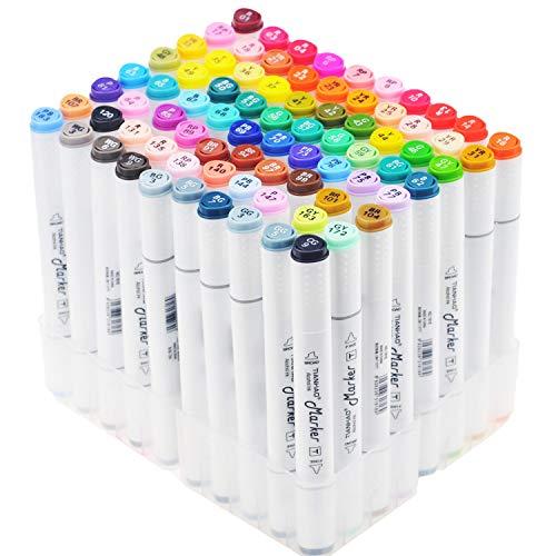 TIANHAO Marker Set, 80 Farbige Graffiti Stift, Verdoppelt Spitzt Kunst Sketch Marker Stifte Färben Highlighters mit Tragetasche für Kinder und Erwachsene