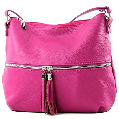 modamoda de - ital. Ledertasche Damentasche Umhängetasche Tasche Schultertasche Leder T159, Präzise Farbe:Pink