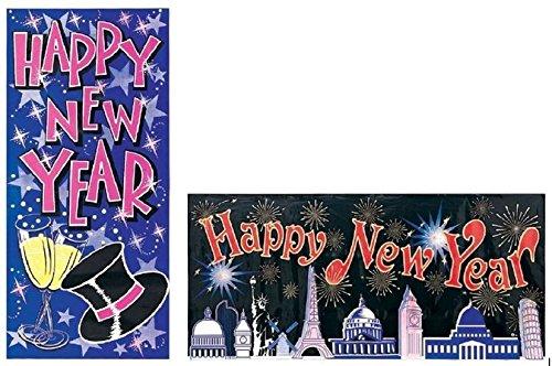 Silvester-Dekoration Happy New Year, 2er Set Riesen-Banner, 1x Tür-Banner und 1x Wanddekoration, Partydeko, Prosit Neujahr, je 1,5 m x 68 cm