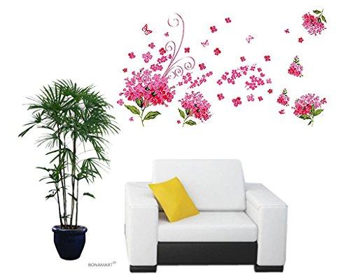 BONAMART ® Blumen Baum Liebesgeschichte Wandtattoo Kinderzimmer Schlafzimmer Wohnzimmer LD655