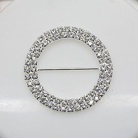 7 Stück 50 mm x 50 mm rund Strass Schnalle Slider für Hochzeit Einladung Buchstabe - Diamante Del Nastro Scorrevole