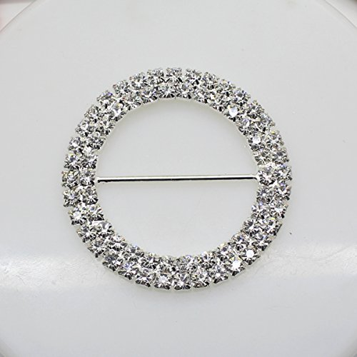 7pcs 50 mm x 50 mm forma rotonda strass fibbia scorrevole per Wedding Invitation Lettera