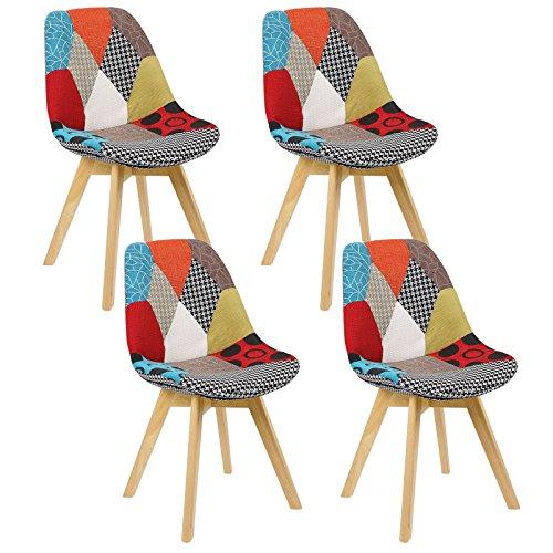 Woltu bh29mf-4 sedia da pranzo sgabello con schienale stoffa lino legno di faggio sedie per cucina ristorante moderno patchwork 4 pezzi