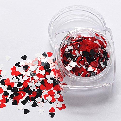 Hejia 12 Colori a Forma di Cuore Chunky Glitter Paillettes Scaglie di Nail Art