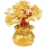 Bolsa de dinero para árbol de citrino de cristal, árbol de deseos de cristal, árbol de Navidad Shui Mineral Crystal Floral Arrangement Home Decor, cristal, Small