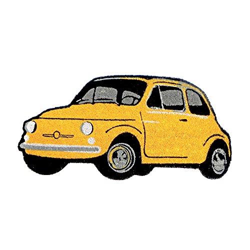 Rutschfeste Kokos Fußmatte in Form eines Fiat 500 gelb